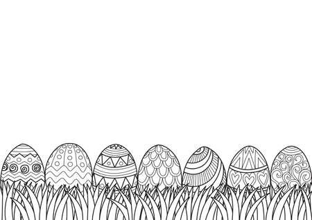 Line art, black and white pattern Easter eggs grass for design element. Vector illustration Illustration