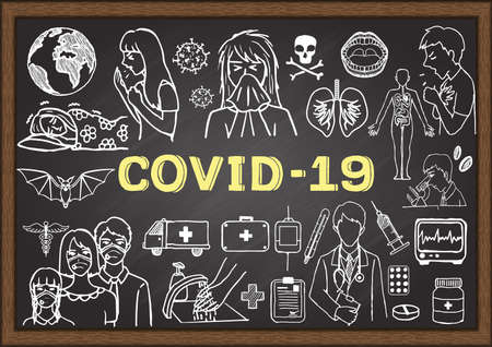 Hand drawn illustration about Coronavirus on chalkboard. Stock vector. Иллюстрация