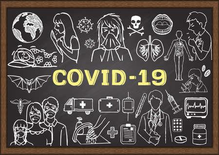 Hand drawn illustration about Coronavirus on chalkboard. Stock vector. Illustration