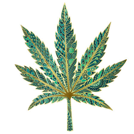 Green inspired marijuana leaf for design element. Vector illustration
