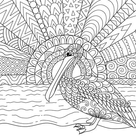 Line art design of Pelican bird in Florida state, USA for printing on products like mug, coloring book and so on. Stock Vector