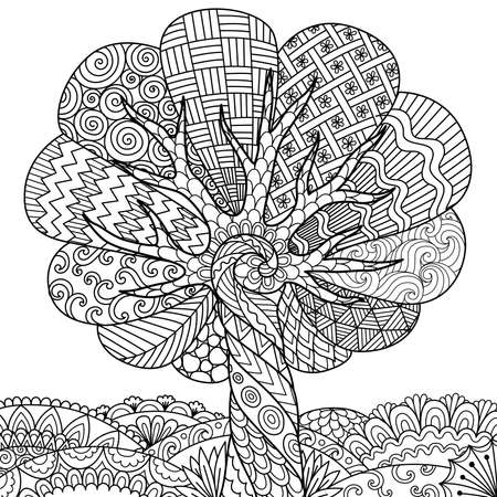 Line art of abstract tree for adult coloring book, printing on product and other design element. Vector illustration.