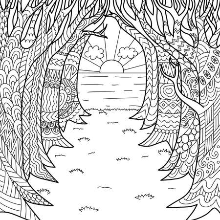 Line art the road under the trees leads to the sea and sunset, for adult coloring page and print on product. Vector illustration Illustration