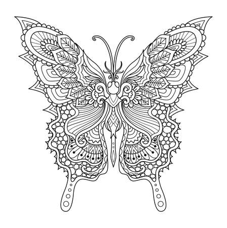 Line art of beautiful butterfly for coloring book, coloring page, printing on product and so on. Vector illustration.