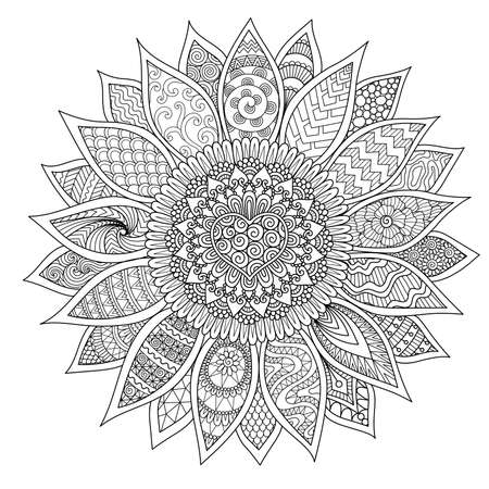 Line art design of beautiful sunflower for printing, engraving, coloring book page and so on. Vector illustration