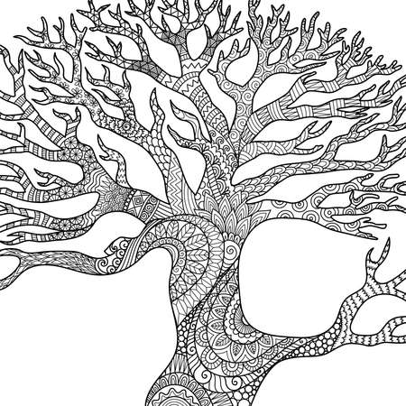 Line art design of dry tree branches for engraving, coloring book, coloring page, printing on product and so on. Vector illustration Illustration
