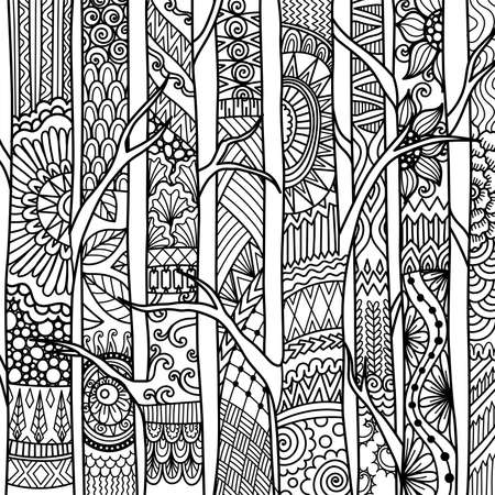 Line art of birch trees for printing on project, coloring book and so on. Vector illustration.