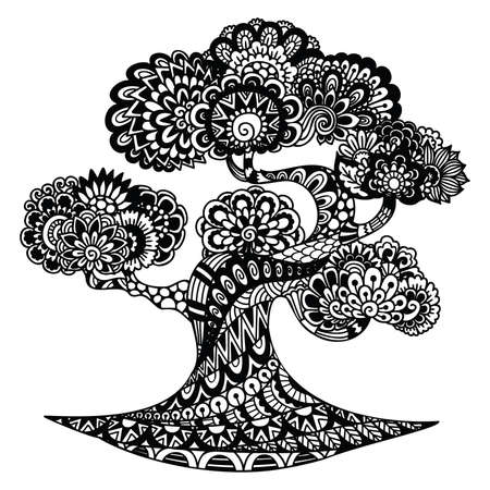 Line art desgin of beautiful tree for coloring book, colorin page, and printing on product. Vector illustration Illustration