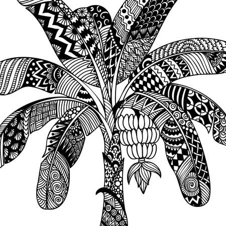 Line art design of banana tree for printing on product, adult coloring book, laser cut, wood work and so on. Vector illustration