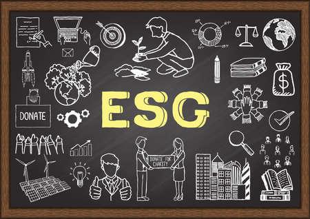 Hand drawn illustration about ESG or Environmental, social and governance on chalkboard. Stock Vector Vektorgrafik