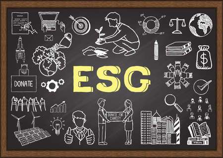 Hand drawn illustration about ESG or Environmental, social and governance on chalkboard. Stock Vector Illustration