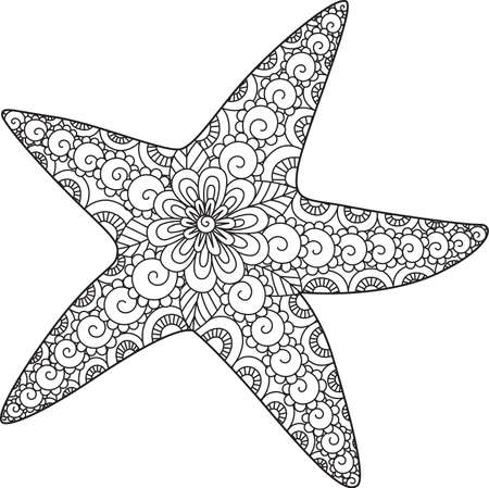 Line art of starfish design for coloring book, coloring page and design element. Vector illustration. Editable stroke width
