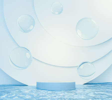 3d rendering floating podium and water drops above blue ocean. Minimal light blue color scheme. Moisturizer cosmetic product concept.
