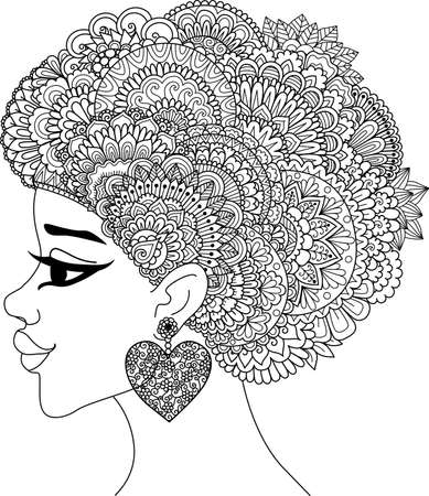 Line art design of black woman with mandala hair for design element. Vector illustration.