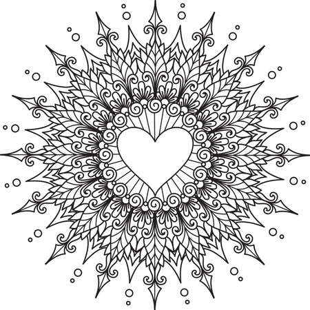 Mandala flower and heart shape in the center with copy space for your text. Vector illustration