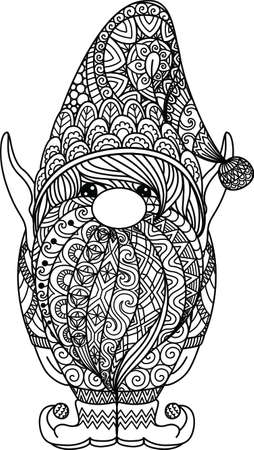 Line art design of cut gnome for coloring book, print on products and so on. Vector illustration