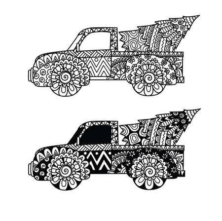 Two styles of Christmas truck for print, coloring book, Christmas ornament and so on. Vector illustration.