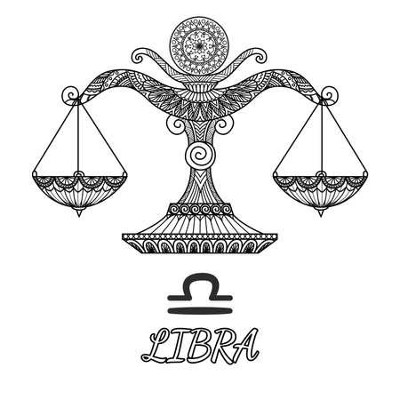Zendoodle design of Libra zodiac sign.Vector illustration Illustration
