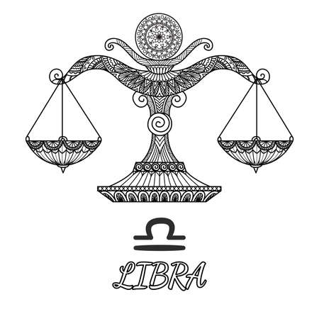 Zendoodle design of Libra zodiac sign.Vector illustration Illustration