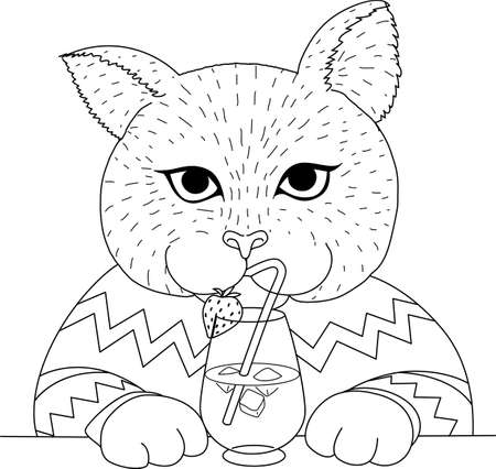 Cute alpaca holding cocktail glass, design for coloring book, coloring page or print on things. Vector illustration.