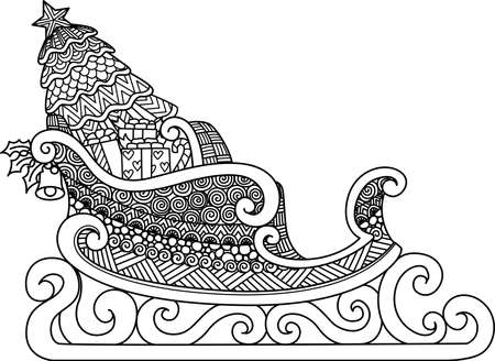 Line art design of Christmas Sleigh for coloring book, coloring page or print on stuffs. Vector illustration