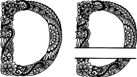 Hand drawn letter D for design element. Vector illustration