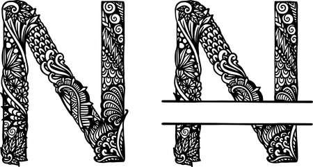 Hand drawn letter N for design element. Vector illustration