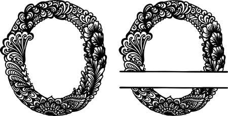 Hand drawn letter O for design element. Vector illustration