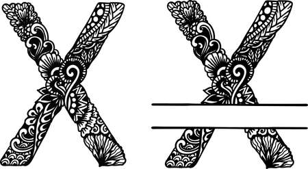 Hand drawn letter X for design element. Vector illustration Ilustración de vector