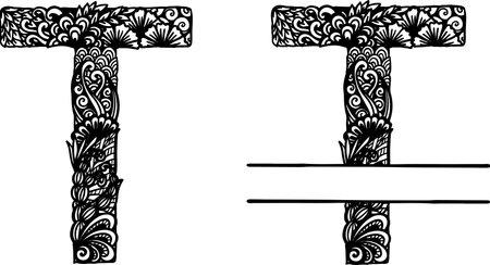 Hand drawn letter T for design element. Vector illustration