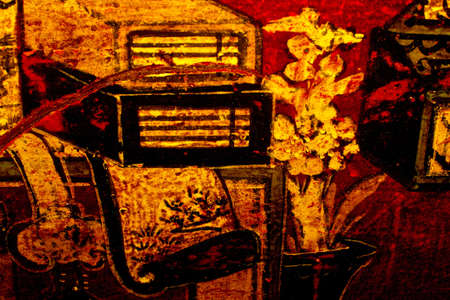 Fragment of brown woody antique chinese bureau Stock Photo - 14086066