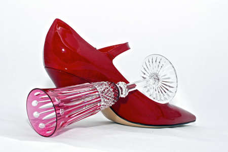 red  shoe with pink crystal champagne glass photo