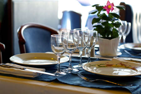 banquette: A table set for a dinner banquette with selective focus Stock Photo