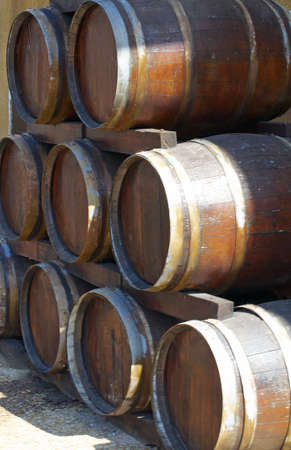 Wooden barrels for wine and beer storage photo