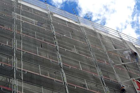 andamio: edificio de conseguir una nueva pintura. Francia. París. Foto de archivo