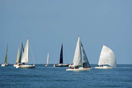 Start einer Segelregatta Die Segelyachten Konkurrenz in der Geschwindigkeit