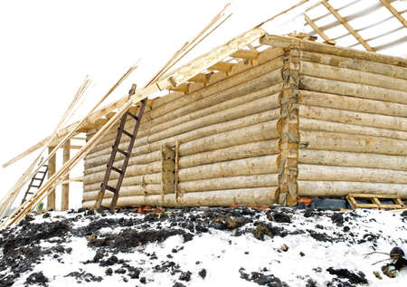 sawhorse: New home construction site. Winter