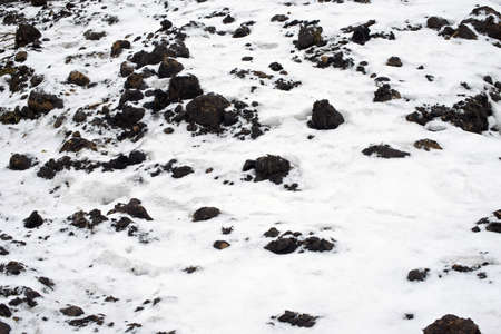 priming: Frozen earth covered by the first snow