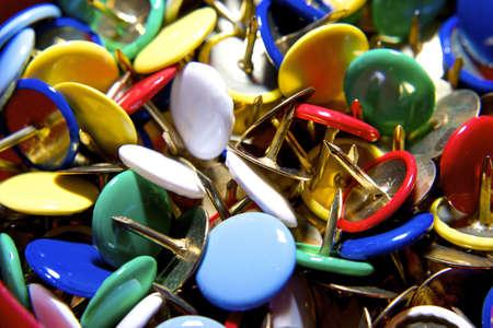 metall: Colorful pushpins in various angles. Thumbtack. Stock Photo