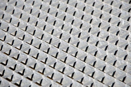 metal grate: Sheets of metal grate on construction site. Stock Photo