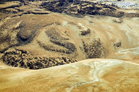 volcanic landscape: Barren volcanic landscape with traces of lava streams. (Teide national park)