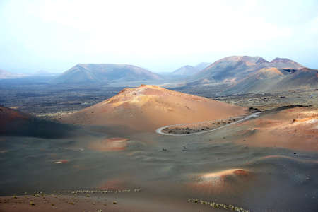 Volcanic Landscape in Timanfaya National Park, Canary Islands Фото со стока
