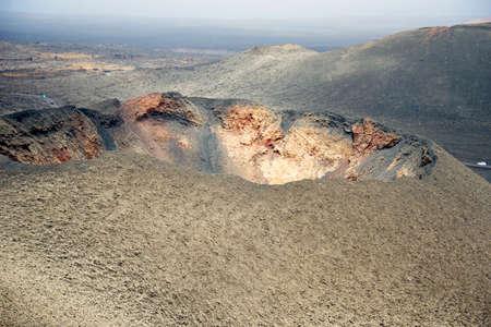 vulcanology: The barren volcanic landscape of Parque Nacional de Timanfaya in Lanzarote.