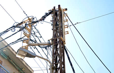 electricity substation: Electricity substation power lines and insulators.