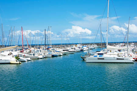 Boats parking in a harbor with beautiful boats, Indian Ocean, Reunion