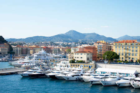 City of Nice colorful waterfront and yachting harbor, French riviera, Alpes Maritimes department of France Фото со стока