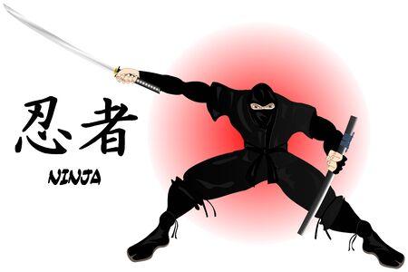 Wojownik Ninja Ilustracja
