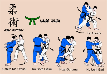 jiu jitsu: Jiu Jitsu green belt Illustration