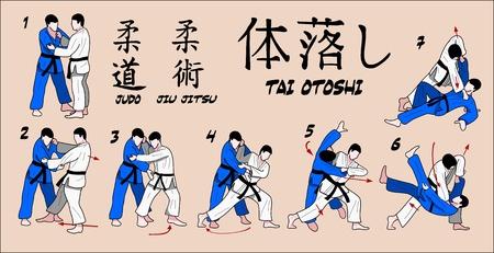 Jiu Jitsu i technika judo Ilustracja