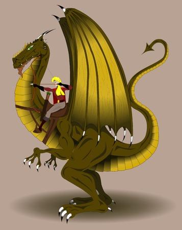 Woman riding dragon archer